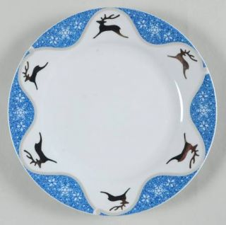 Montgomery Ward Winterlight Reindeer Salad Plate, Fine China Dinnerware   Silver