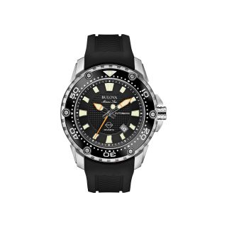 Bulova Marine Star Mens Black Rubber Strap Automatic Watch