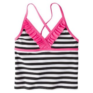Girls Striped Halter Tankini Swim Top   Black/White XL
