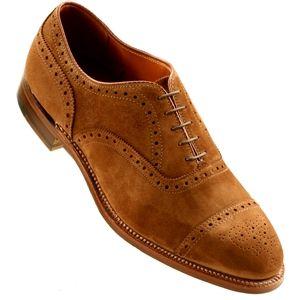 Alden Mens Medallion Tip Bal Calfskin Snuff Suede Shoes, Size 8.5 D   51670