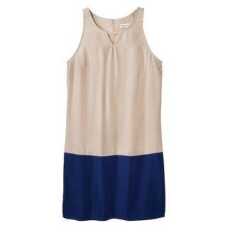 Merona Womens Colorblock Hem Shift Dress   Hamptons Beige/Waterloo Blue   XXL