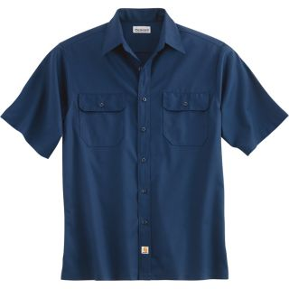 Carhartt Short Sleeve Twill Work Shirt   Navy, XL, Regular Style, Model S223