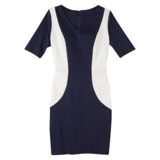 Merona Womens Ponte V Neck Color Block Dress   Navy/Sour Cream   L