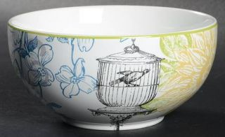 222 Fifth (PTS) Bergerac Blue Soup/Cereal Bowl, Fine China Dinnerware   Yellow F