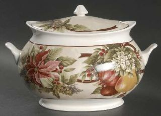 222 Fifth (PTS) Yuletide Celebration Tureen &  Lid, Fine China Dinnerware   Red