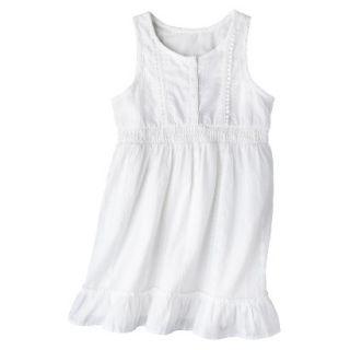 Girls Sleeveless Button Front Shirt Dress   Fresh White XS