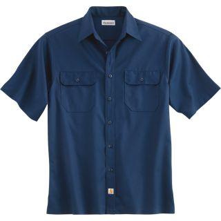 Carhartt Short Sleeve Twill Work Shirt   Navy, Medium, Regular Style, Model S223