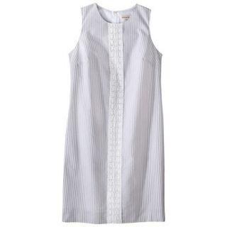 Merona Womens Seersucker Lace Trim Shift Dress   Grey/White   16