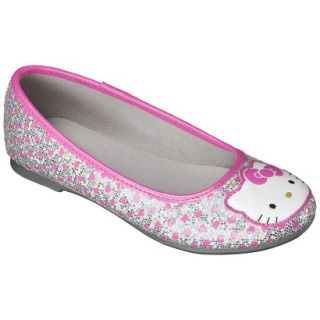 Girls Hello Kitty Ballet Flat   Silver 6