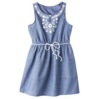 Girls Sleeveless Embellished Front Shirt Dress   Chambray XS
