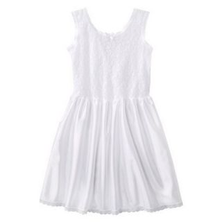 Girls Lace Nylon Full Slip   White 6