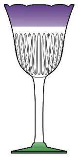 Anthropologie Glass Saintpaulia Wine Glass   Clear,Purple Band,Green Foot,Scallo