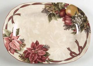 222 Fifth (PTS) Yuletide Celebration 13 Oval Serving Platter, Fine China Dinner