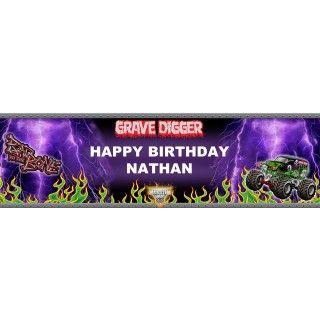 Monster Jam   Grave Digger Personalized Banner