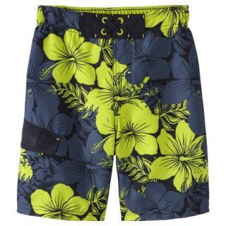 Boys Hibiscus Flower Swim Trunk   Black S