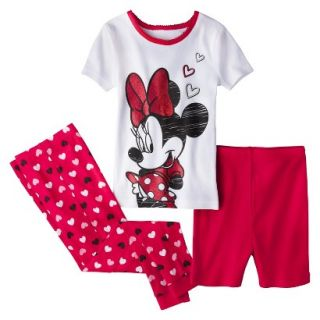 Disney Minnie Mouse Toddler Girls 3 Piece Pajama Set   Red 4T