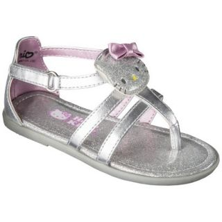 Toddler Girls Hello Kitty Sandals   Silver 6
