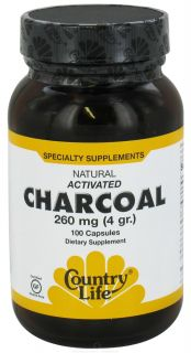Country Life   Natural Activated Charcoal 260 mg.   100 Capsules