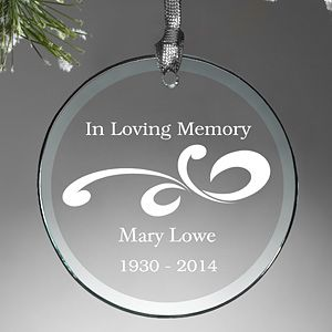 Personalized Glass Memorial Christmas Ornament   Loving Memory