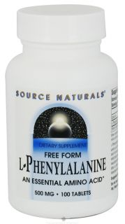 Source Naturals   L Phenylalanine Essential Free Form Amino Acid 500 mg.   100 Tablets