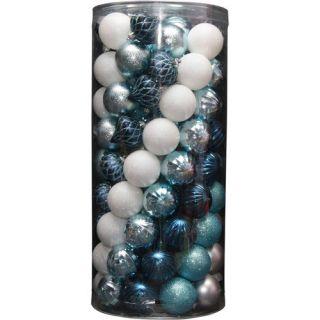 Holiday Time 101 Piece Shatterproof Christmas Ornament Set, Blue Christmas Decor
