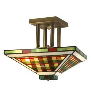 Dale Tiffany Twisted Glass 2 Light Semi Flush Mount Antique Bronze Ceiling Light STH11023
