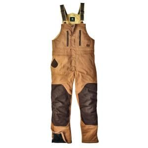 John Deere Heavyweight Duck Insulated Hooded Extra Large Regular Bib Overall in Brown DISCONTINUED JD93163