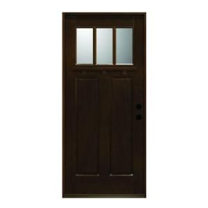 Main Door Craftsman Collection 3 Lite Prefinished Antique Mahogany Type Solid Wood Entry Door SH 703 ATQ PH LH