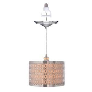 Worth Home Products 1 Light Brushed Nickel Instant Pendant Light Conversion Kit and Overlay with Linen Drum Shade PBN 6159 0030