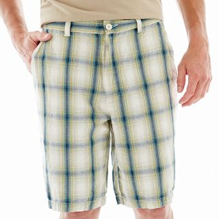 St. Johns Bay Linen Shorts, Sage Plaid, Mens