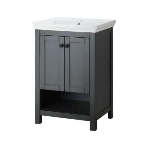 Foremost Hanley 22 in. Vanity and Vitreous China Sink in Charcoal Grey with Porcelain Vanity Top in White HAGOS2417