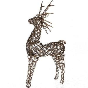 Sterling, Inc. 48 in. Pre Lit Animated Grapevine Standing Brown Deer Sculpture 92512014