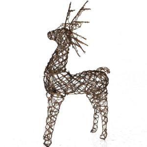 Sterling, Inc. 48 in. Pre Lit Animated Grapevine Standing Brown Deer Sculpture 92512014