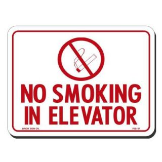 Lynch Sign 8 in. x 6 in. Red on White Plastic No Smoking in Elevator with Symbol Sign FES  37