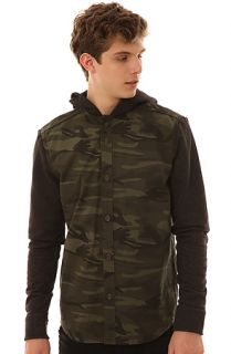Zak Coat Button Down Hoodie in Green