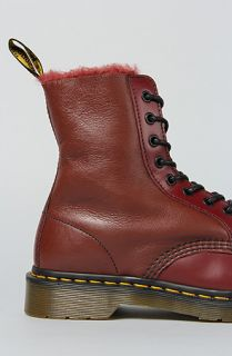 Dr. Martens The Brady 8Tie Shearling Boot in Cherry Red