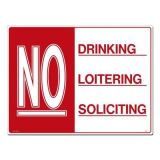 Lynch Sign 24 in. x 18 in. Red on White Plastic No Drinking   Loitering   Soliciting Sign R 123
