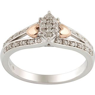 1/6 Carat T. W. Diamond Sterling Silver And 10kt Pink Gold Promise Ring, Sterling Silver Diamond Promise Ring, 1/6 Carat Diamond Ring,10kt Pink Gold Diamond Promise Ring