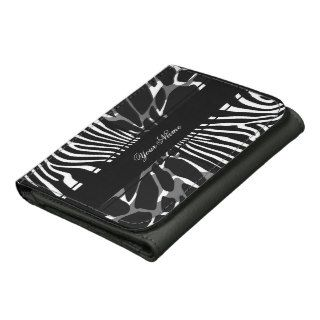 Zebra Leopard Black White Multi Animal Print Wallets
