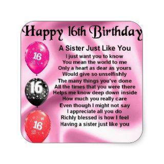 Happy 16th Birthday   sister poem Sticker