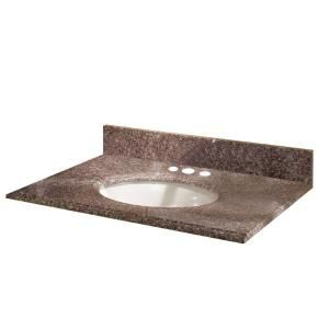 Pegasus 25 in. Granite Vanity Top in Montero with White Basin 25664