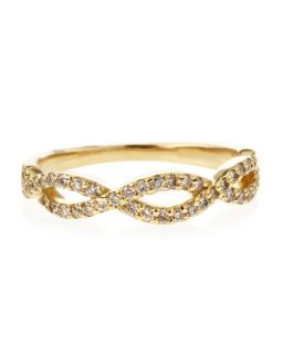 14K Diamond Pave Stackable Twist Ring, Yellow Gold, Size 6.5