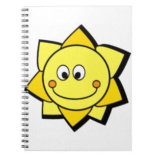 Sun amarillo y anaranjado del dibujo animado feliz libros de apuntes de