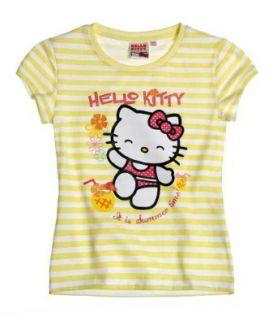 Hello Kitty Mädchen T Shirt, Farbe gelb gestreift, Gr.140 Bekleidung