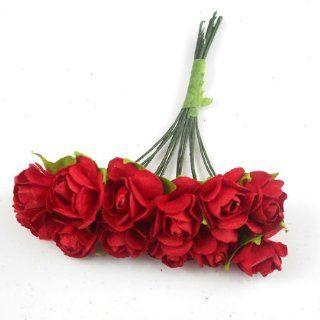 BestOfferBuy 144 Seidenpapier Papierblume Rose DIY Scrapbook Hochzeit rot 15mm: Küche & Haushalt