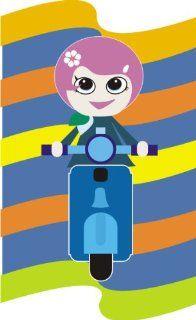 Pema Wandtattoo bunt ME176 sexy girl Mädchen Moped Mofa Motorrad Regenbogen 40 x 24 cm Küche & Haushalt
