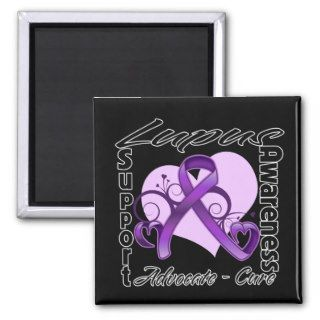 Heart Ribbon   Lupus Awareness Magnets