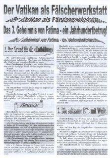 Der Vatikan als F�lscherwerkstatt Das 3. Geheimnis von Fatima   ein Jahrhundertbetrug Johannes Rothkranz Bücher
