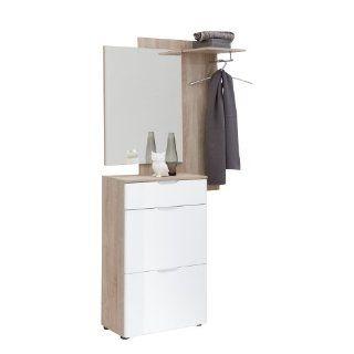 FMD Möbel 491 001 Garderobe Scalea 94 x 196 x 30 cm, eiche / hochglanz weiß: Küche & Haushalt