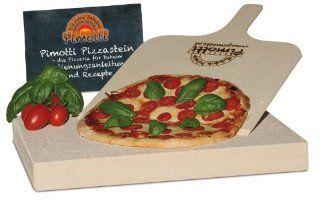 Pimotti 202_003 Schamott Pizza /Brotback Stein, Schaufel und Anleitung mit Rezepte im Set, 4 cm Küche & Haushalt